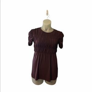 Burberry Plum Ruched Peplum Short Sleeve Blouse Top Size Small
